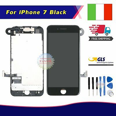 Display Lcd Touch Screen Iphone 7 7G Completo Fotocamera Altoparlante Frame Nero