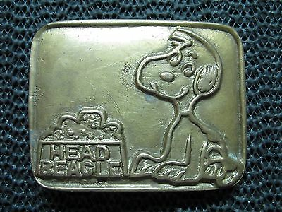 HEAD BEAGLE SNOOPY BELT BUCKLE! VINTAGE! VERY RARE! 1970s! TAIWAN! BRASS! LOOK!