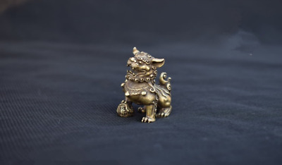 China Old Collectibles Pure brass mother & son lion fo dog small statue