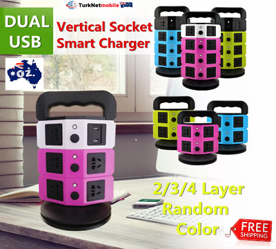 Vertical Power Strip 8 Way Outlet Power Board With 2 USB Fast Charging Charger