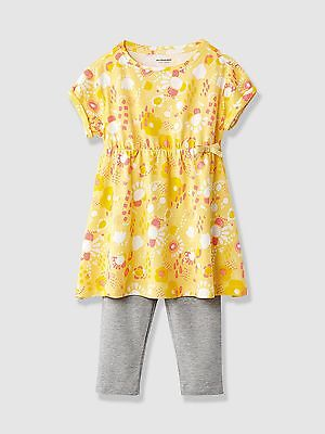 Vertbaudet Baby Girls Tunic Dress Leggings Outfit Age 3 Years BNWT Yellow/Grey