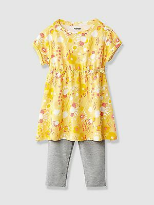 Vertbaudet Baby Girls Tunic Dress & Leggings Outfit Age 3 Years BNWT Yellow/Grey