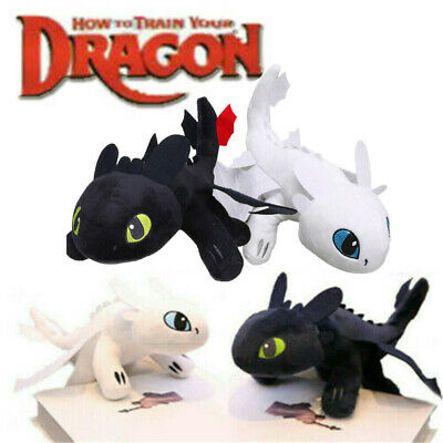 35CM How To Train Your Dragon 3 Plush Doll Night Fury Black White Stuffed Toy AU
