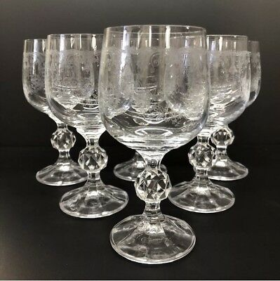 Cascade Crystal Etched Wine glasses Set of 6 Bohemia FREE SHIPPING