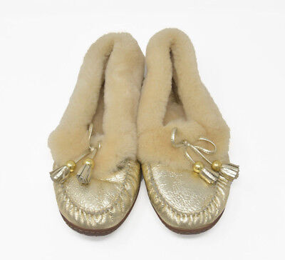 0561488299c Coach FIONA Women s Sz 10B Gold Shearling Slip On Comfort Moc Moccasin  Slippers