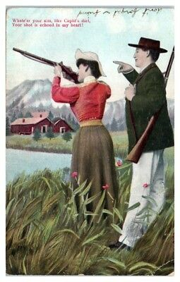 Like Cupid's Dart, Shot is Echoed in My Heart, Couple Shooting Together Postcard