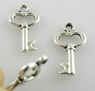 120pcs Exquisite Key Tibetan Silver Charms Crafts Pendants Jewelry Making 8x15mm