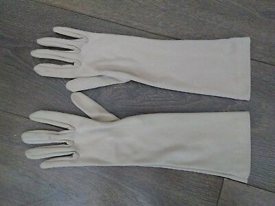 Vintage Ladies' Long Formal Evening Cocktail Gloves Beige Size 6 Small VGC