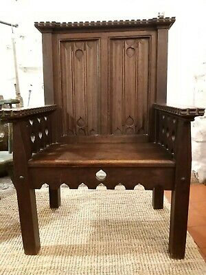 Gothic Revival Oak Throne Chair Arts And Crafts Period Liberty Knox Voysey