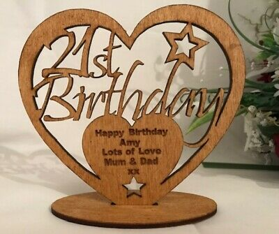 Personalised Wooden Freestanding Birthday Heart Gift 16th 18th 30th 40th 50th