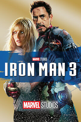 Iron Man 3 ver 2 Movie Poster Canvas Picture Art Print Premium Quality  A0 - A4