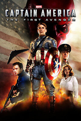 Captain America The First Avenger 2 Movie Poster Canvas Picture Print A0 - A4