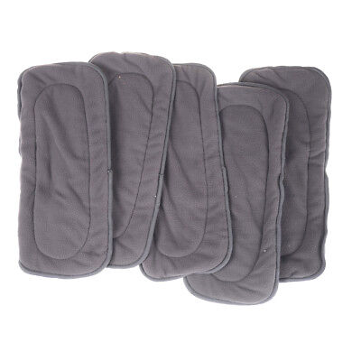 5Pcs 4 Layers Bamboo Fiber Charcoal Washable Cloth Diaper Nappies Inserts   RG