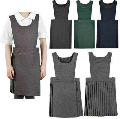 Children Girls All Sizes Black Green Navy Grey Pleated Pinafore Uniform Dress