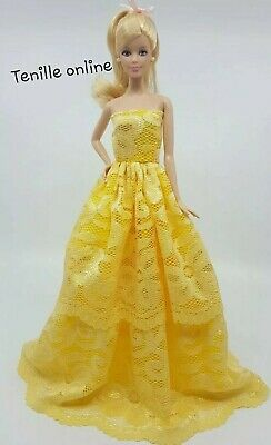 New Barbie doll clothes outfit princess wedding gown dress yellow