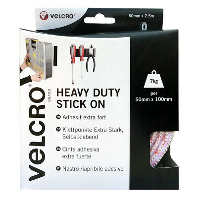 VELCRO® Brand Heavy Duty Strong Stick On Self Adhesive Tape 50MM Black or White.