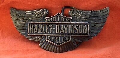 VTG Rare HARLEY DAVIDSON MOTORCYCLES Indiana X-15 Bronze Toned Wings BELT BUCKLE