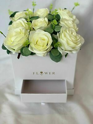 Rose Hat Box Artificial Silk Flower Gift Bouquet in a Box Hospital Flowers