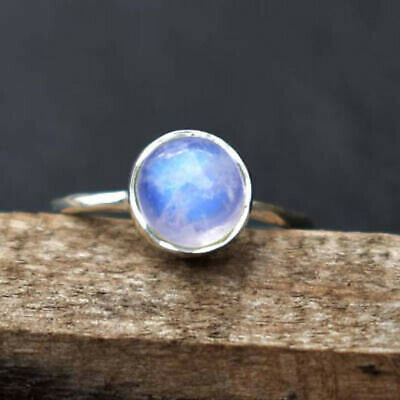 Natural Rainbow Moonstone Gemstone Solid 925 Sterling Silver Womens Ring Jewelry