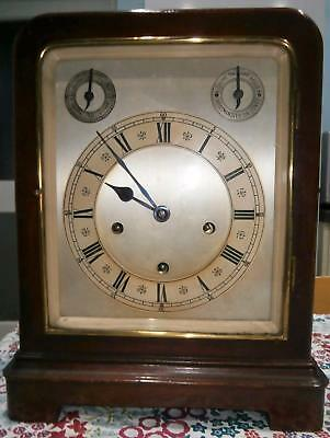 8 Bell 5 Coil Gong Mahogany Framed 5 Glass Library Clock Serviced in GWO