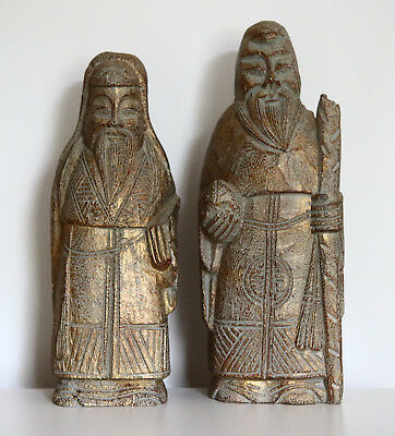 Carved Wood Style Asian Old Men Figurines Gold Home Decor Bronze Color Ethnic
