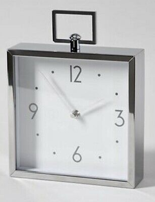 Square Silver Chrome Roman Numerals Black Face Mantle Clock On Wooden Base