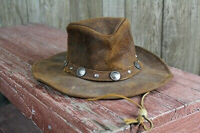 Used Vintage Minnetonka Outback Buffalo Nickel Leather Cowboy Hat Medium