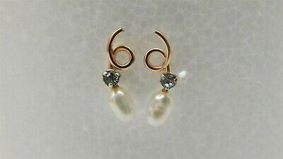 860e08b6e SMALL DESIGNER 14K Yellow Gold Round Pearl & Cubic Zirconia Post ...