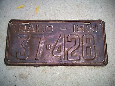 Antique Vintage RARE Nice Dated 1931 Idaho License Plate