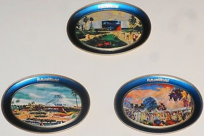 DISNEY WORLD Small Tray Lot of 3 EPCOT Earth Land Motion 1982 NEW Vintage Vtg