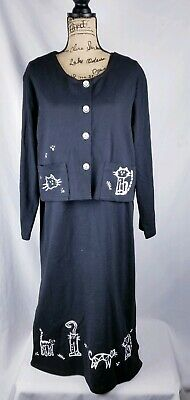 Womens Black Maxi Dress Cardigan White Cats Loungewear Cite Made In USA