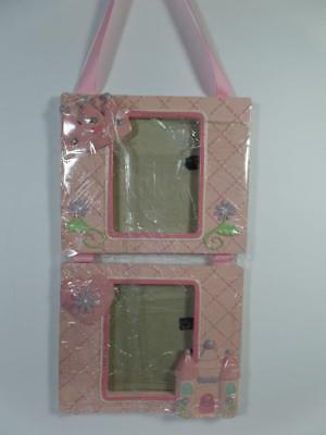 Baby's Pink PRINCESS Crown Castle Double Photo Frame w/ Grosgrain Ribbon Hanger