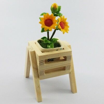 Flower Dollhouse Miniature Handmade Clay Sun Flower in potted with wooden plant
