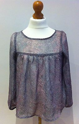 Girls Marks And Spencers Sheer Pink And Grey Smock Top Age 9 Years