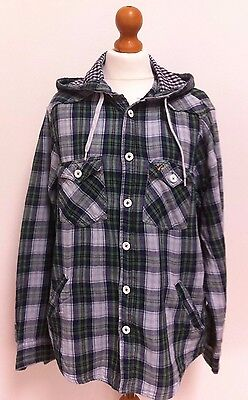 Boys Voi Jeans Hooded Checked Shirt Top Jacket Blue Green White Size Xlb
