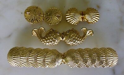 Lot Of 4 Mimi Di N Unsigned Nautical Fish Shells Gold Metal Belt Buckles Vintage