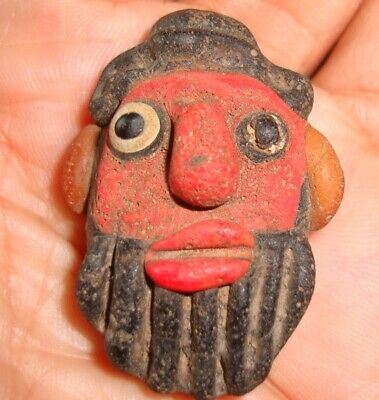 Ancient Phoenician Head Bearded Angry Red Face Mosaic Glass Bead Pendant 417