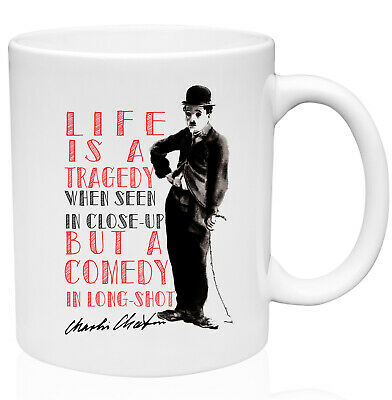 "Charlie Chaplin Quote Poster Print /""Life is a tragedy when seen in closeup/"" Gift"