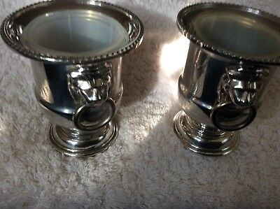 Pair Of Viners Vintage Silver Plated Lions Head Urns
