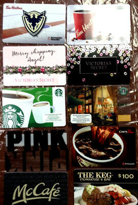 Lot of 10 Holiday TIM HORTON VICTORIA'S SECRET Collectible Gift Cards No Value