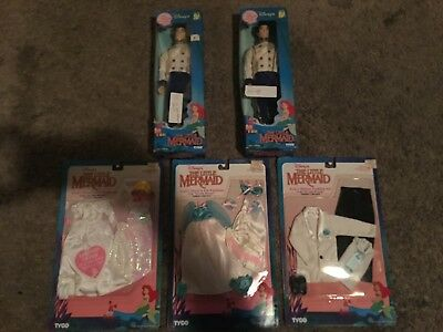 2 Little Mermaid Eric Dolls/2 Outfits/Dresses, Tyco, No White Dress, Dolls, New