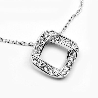 f7666c0e0 ~SILVER ETERNITY~ Pendant Necklace with Genuine Clear Swarovski Crystals