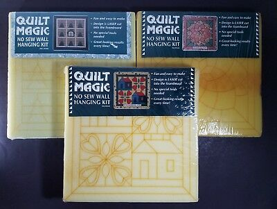 "Lot of 3 Quilt Magic Kits Cabin Woods , Blossom & Schoolhouse 12"" x 12"" NOS 1995"