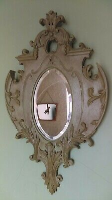 Antique Baroque Ornate Carved Wooden Bevelled Edge Wall Mirror