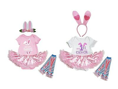 Personalize Easter Bodysuit Pink Bunny Baby Dress Ear Headband Leg Warmer NB-18M