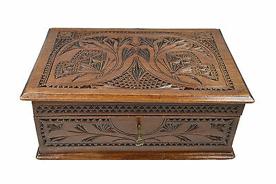Antique Frisian Chip Carved Jewelry Chest, Dutch.