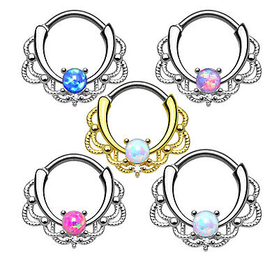 OPAL SEPTUM CLICKER Lacey Nose Hoop Bar Steel Cartilage Daith Piercing Ring Bars