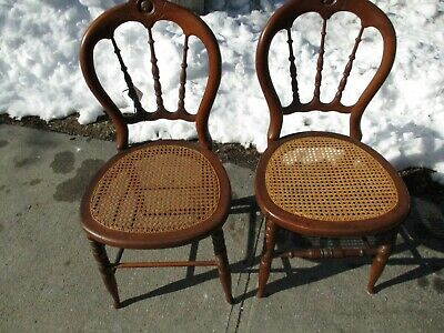 Pair Antique Victorian Walnut Caned Seated Side Chairs