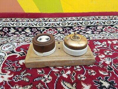 Old Original Rare Crabtree Brass & Ceramic Electric Switch & Bakelite Socket