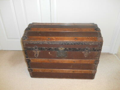 Antique Domed  Topped  Steamer/Travel Trunk